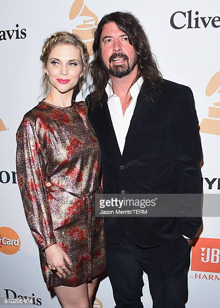 Musican Dave Grohl and Jordyn Blum attend the 2016 PreGRAMMY Gala and Salute to Industry Icons honoring Irving Azoff at The Beverly Hilton Hotel on...