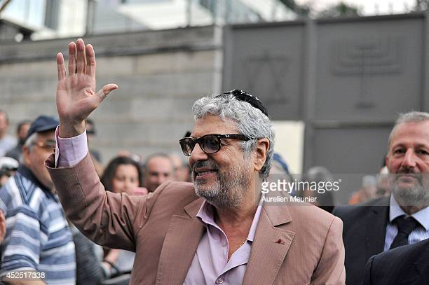 Musican Enrico Macias attends the Sarcelles Synagogue for a inter faith service on July 21 2014 in Sarcelles France Demonstrations by proPalestinian...