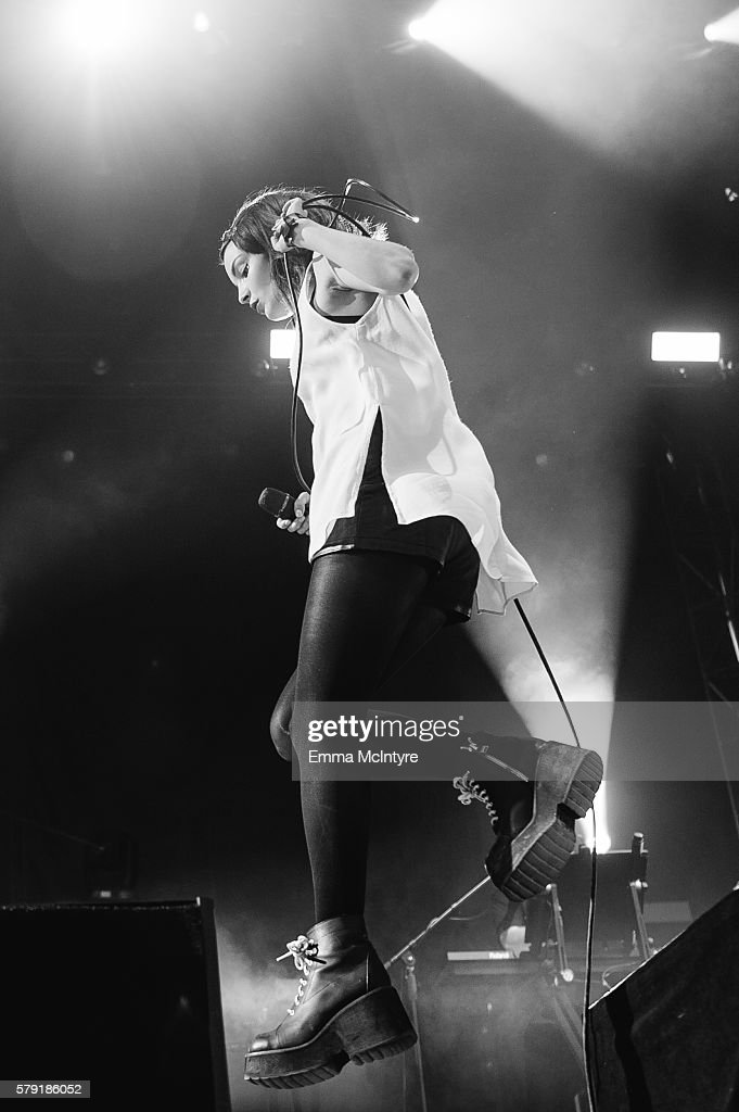 Musican Lauren Mayberry of 'CHVRCHES' performs onstage at the 2016 Way Home Music Festival on July 22, 2016 in Oro-Medonte, Canada.