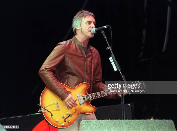 Musican Paul Weller performing on stage at the V2000 music festival in Chelmsford in Essex