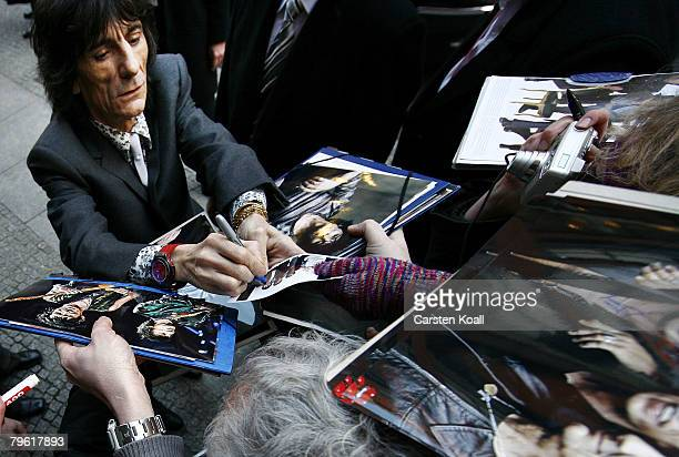 Musican Ronnie Wood leaves the hotel after the 'Shine A Light' Photocall as part of the 58th Berlinale Film Festival at the Grand Hyatt Hotel on...
