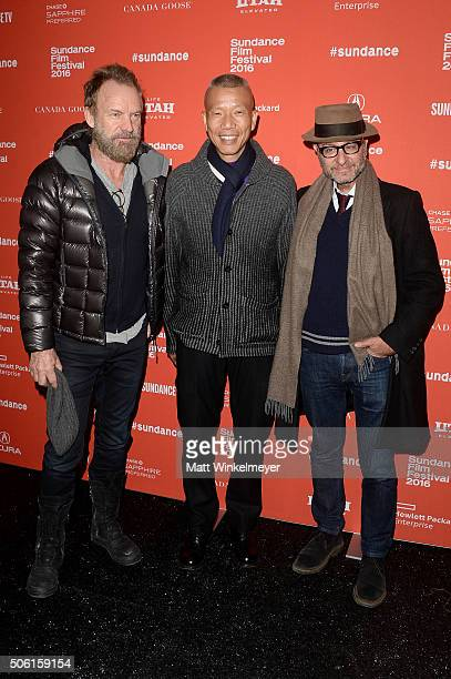 Musican Sting artist Cai GuoQiang and actor Fisher Stevens attend the 'Sky Ladder The Art Of Cai GuoQiang' Premiere during the 2016 Sundance Film...