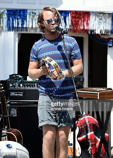 Musican Zach Yudin of the band Cayucas performs onstage at the Hollister House summer concert series at Hollister House on July 3 2014 in Santa...