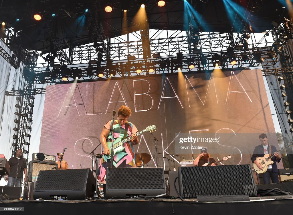 Musicans Brittany Howard, Zac Cockrell and Heath Fogg of musical group Alabama Shakes performs on The Oaks stage during Arroyo Seco Weekend at the Brookside Golf Course at on June 24, 2017 in Pasadena, California.