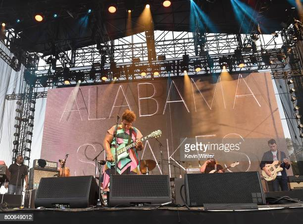 Musicans Brittany Howard Zac Cockrell and Heath Fogg of musical group Alabama Shakes performs on The Oaks stage during Arroyo Seco Weekend at the...