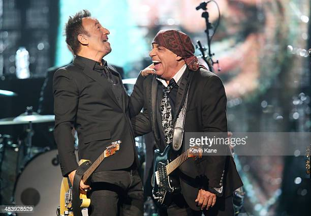 Musicans Bruce Springsteen and inductee Steven Van Zandt perform onstage at the 29th Annual Rock And Roll Hall Of Fame Induction Ceremony at Barclays...