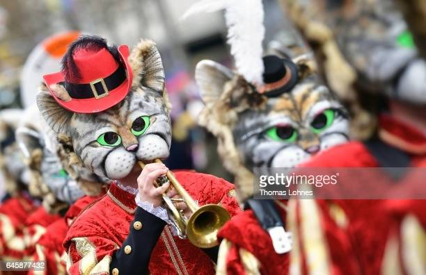 Musicans dressed as cats attend the annual Rose Monday parade on February 27 2017 in Mainz Germany Political satire is a traditional cornerstone of...