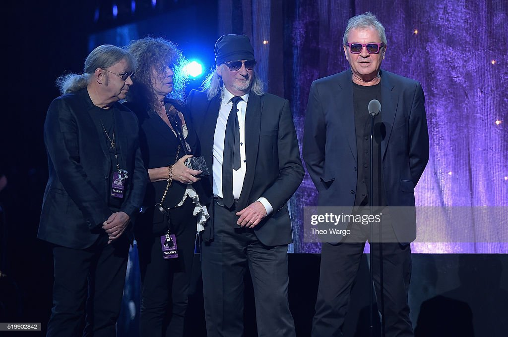 Musicans Ian Paice, Roger Glover and Ian Gillan of Deep Purple speak onstage at the 31st Annual Rock And Roll Hall Of Fame Induction Ceremony at Barclays Center on April 8, 2016 in New York City.