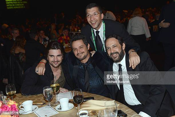Musicans Juanes Alejandro Sanz Juan Luis Guerra and guest attend the 2012 Person of the Year Honoring Caetano Veloso at MGM Grand Garden Arena on...