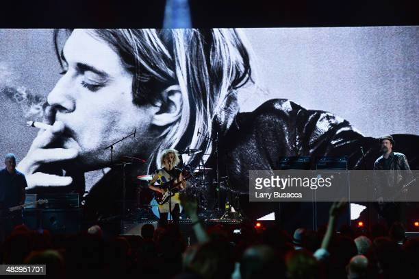 Musicans Pat Smear, St. Vincent and Krist Novoselic perform onstage at the 29th Annual Rock And Roll Hall Of Fame Induction Ceremony at Barclays...