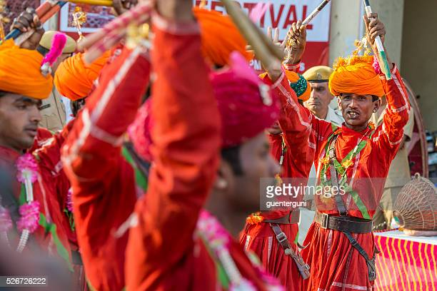 Musicans performing at the Gangaur Festival in Jaipur, Rajasthan, India