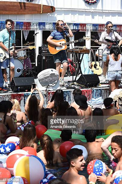 Musicans Zach Yudin and Ben Yudin of the band Cayucas perform onstage at the Hollister House summer concert series at Hollister House on July 3 2014...