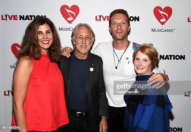 MusiCares Board Chair Alexandra Patsavas National Academy of Recording Arts and Sciences President Neil Portnow Singer Chris Martin and MusiCares VP...