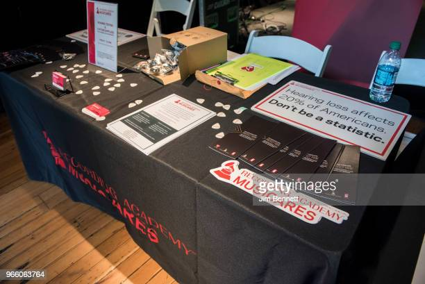 MusiCares offers a variety of information at their table during Upstream Music Conference on June 1 2018 in Seattle Washington
