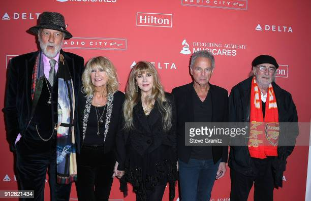 MusiCares Person of the Year 2018 honorees Mick Fleetwood Christine McVie Stevie Nicks Lindsey Buckingham and John McVie of Fleetwood Mac arrives at...