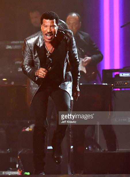 MusiCares Person of the Year honoree Lionel Richie performs onstage during The 58th GRAMMY Awards at Staples Center on February 15, 2016 in Los...