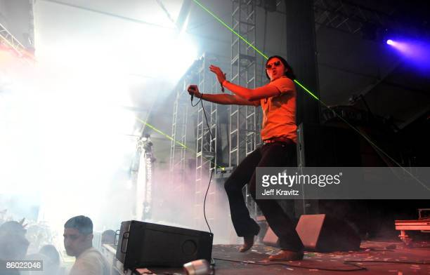 Musician Aaron Kyle Behrens from the band Ghostland Observatory performs during day 1 of the Coachella Valley Music Arts Festival 2009 at the the...