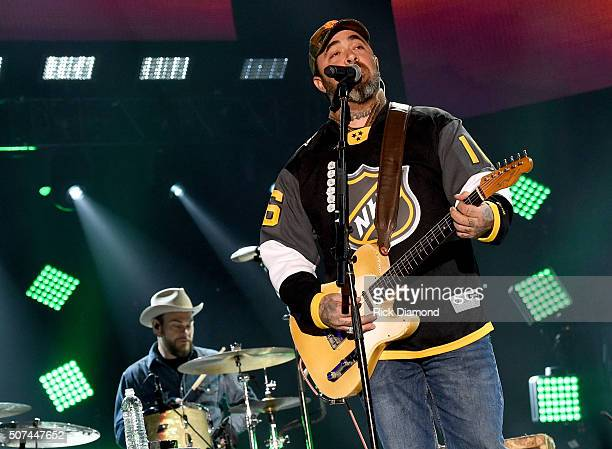 Musician Aaron Lewis performs onstage during NHL AllStar Winter Park Nashville 2016 Day 2 on January 29 2016 in Nashville Tennessee