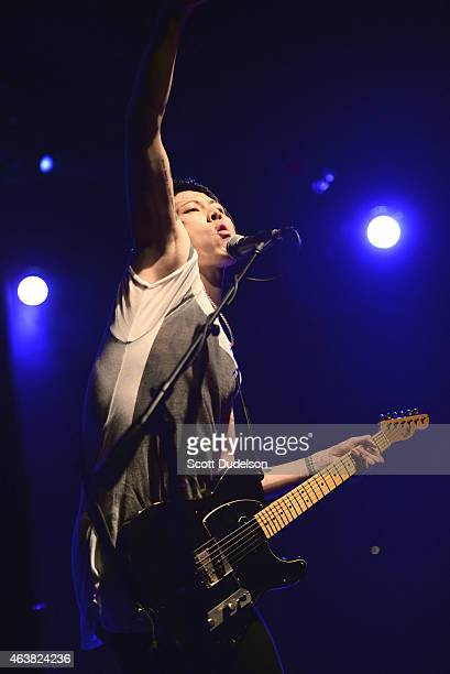 Musician / actor Miyavi performs on stage at the El Rey Theatre on February 18 2015 in Los Angeles California