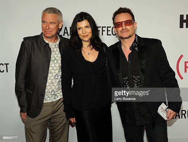 Musician Adam Clayton Ali Hewson and CoFounder Bono attend the New York premiere of The Lazarus Effect at The Museum of Modern Art on May 4 2010 in...