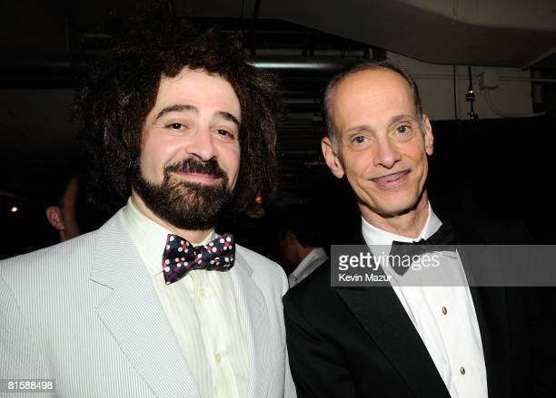 Musician Adam Duritz and actor John Waters pose backstage during the 62nd Annual Tony Awards at Radio City Music Hall on June 15 2008 in New York City