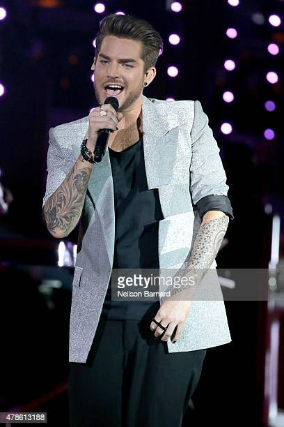 Musician Adam Lambert performs onstage at Logo's Trailblazer Honors 2015 at the Cathedral of St John the Divine on June 25 2015 in New York City