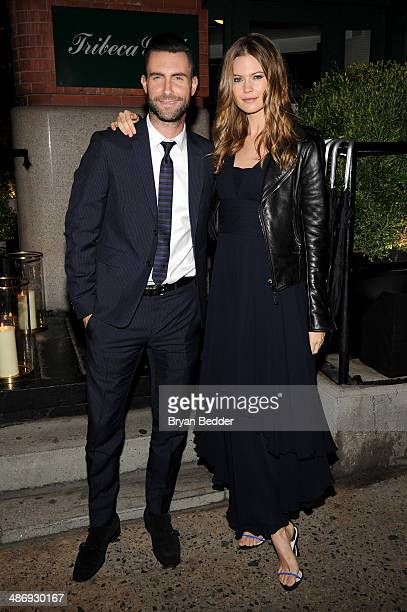Musician Adam Levine and Behati Prinsloo attend the CHANEL Dinner in honor of the 2014 Tribeca Film Festival closing night film 'Begin Again' at...