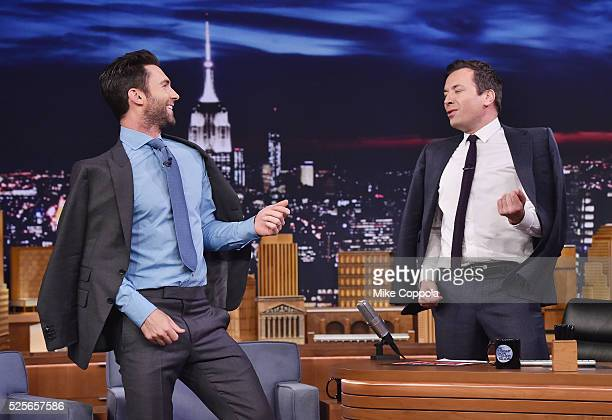 Musician Adam Levine and Jimmy Fallon perform during his visit to the visit The Tonight Show Starring Jimmy Fallon on April 28 2016 in New York New...