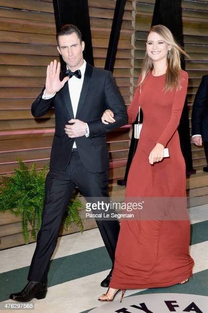 Musician Adam Levine and model Behati Prinsloo attends the 2014 Vanity Fair Oscar Party hosted by Graydon Carter on March 2 2014 in West Hollywood...