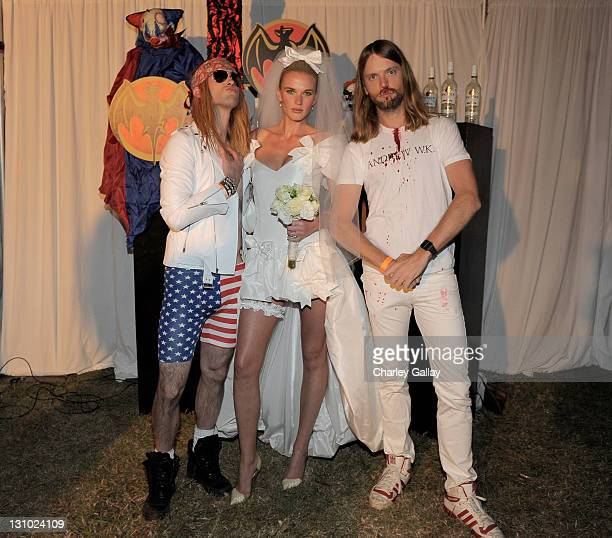 Musician Adam Levine model Anne V and musician James Valentine attend Bacardi and Maroon 5's Annual Halloween Bash held at Hollywood Forever Cemetary...