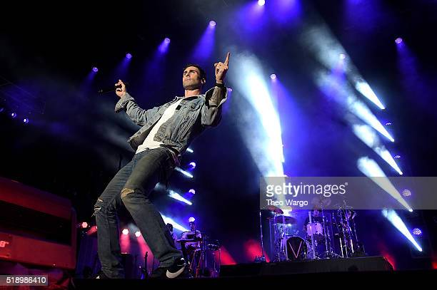 Musician Adam Levine of Maroon 5 performs on stage during Capital One JamFest at the NCAA March Madness Music Festival Day 3 at Discovery Green on...