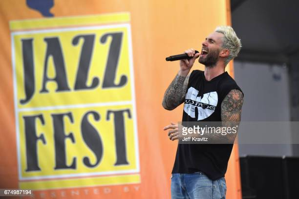 Musician Adam Levine of Maroon 5 performs onstage during Day 2 of the 2017 New Orleans Jazz & Heritage Festival at Fair Grounds Race Course on April...