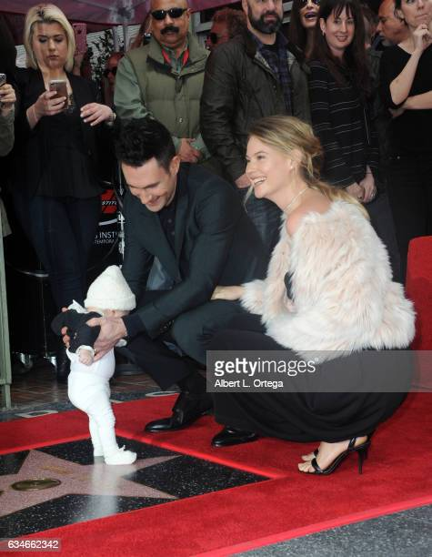 Musician Adam Levine wife/model Behati Prinsloo and daughter Dusty Rose at his Star On The Hollywood Walk Of Fame ceremoney on February 10 2017 in...