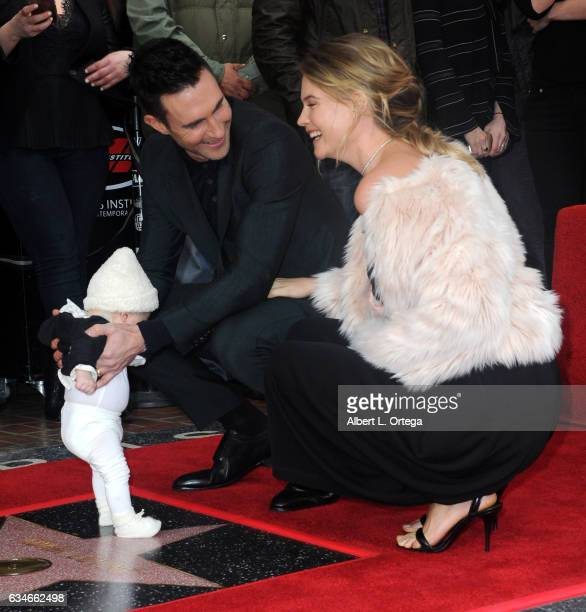Musician Adam Levine, wife/model Behati Prinsloo and daughter Dusty Rose at his Star On The Hollywood Walk Of Fame ceremoney on February 10, 2017 in...