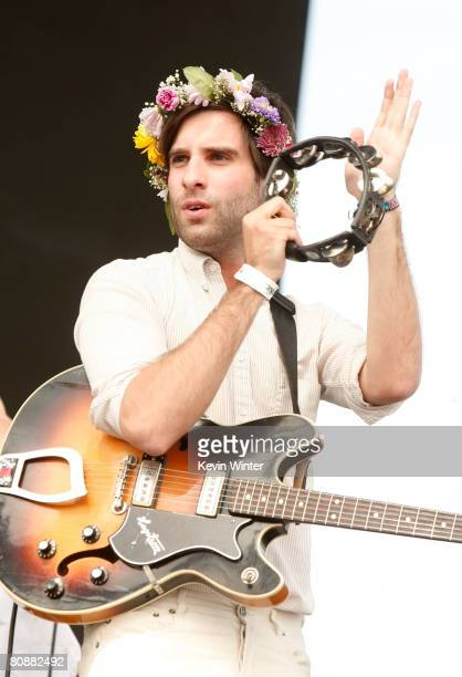 Musician Adam Olenius from the band Shout Out Louds performs during day 3 of the Coachella Valley Music And Arts Festival held at the Empire Polo...