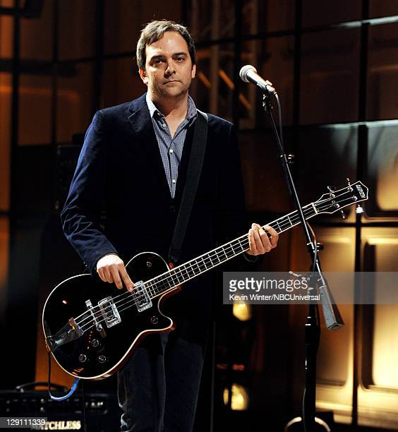 Musician Adam Schlesinger of Fountains of Wayne performs on the Tonight Show With Jay Leno at NBC Studios on October 12 2011 in Burbank California