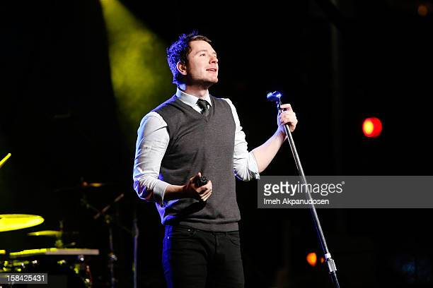 Musician Adam Young of Owl City performs onstage at The 3rd Annual Salvation Army Rock The Red Kettle Concert at Nokia Theatre LA Live on December 15...
