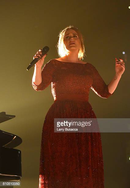 Musician Adele performs onstage during The 58th GRAMMY Awards at Staples Center on February 15 2016 in Los Angeles California