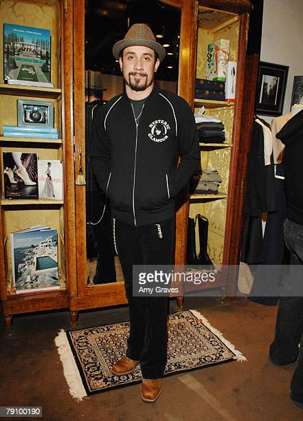 Musician A.J. McLean tries on Hysteric Glamour clothes at the Hysteric Glamour Party at the Tracey Ross Boutique on January 17, 2008 in West...
