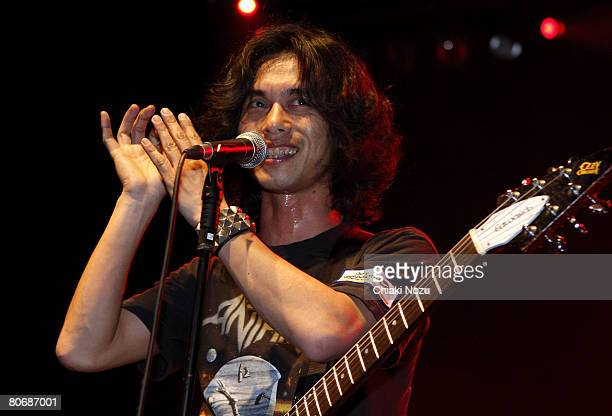 Musician Aki Morimoto of Electric Eel Shock support act to The Presidents of the United States of America performs at Astoria on April 15 2008 in...