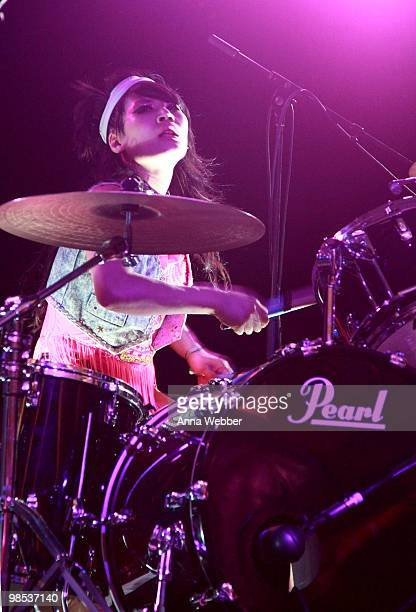Musician Akiko Matsuura of the band The Big Pink performs during day three of the Coachella Valley Music Arts Festival 2010 held at the Empire Polo...