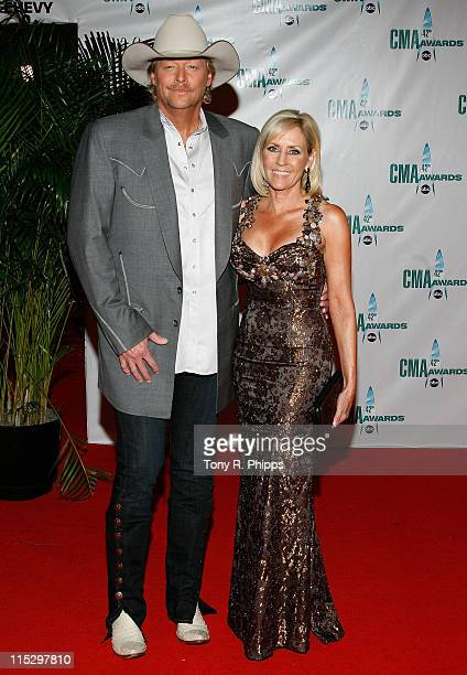 Musician Alan Jackson and author Denise Jackson attend the 42nd Annual CMA Awards at the Sommet Center on November 12 2008 in Nashville Tennessee