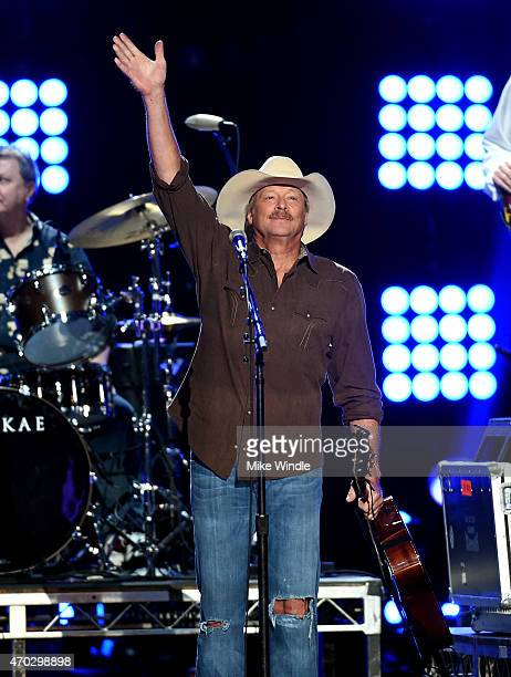 Musician Alan Jackson performs onstage during ACM Presents Superstar Duets at Globe Life Park in Arlington on April 18 2015 in Arlington Texas