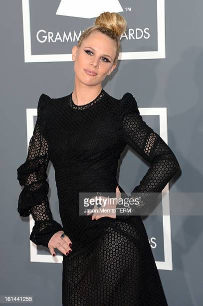 Musician Alana Watson of the band Nero arrives at the 55th Annual GRAMMY Awards at Staples Center on February 10 2013 in Los Angeles California