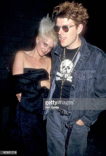 Musician Alannah Currie and musician Tom Bailey of pop group Thompson Twins on July 24 1987 party at The Limelight in New York City