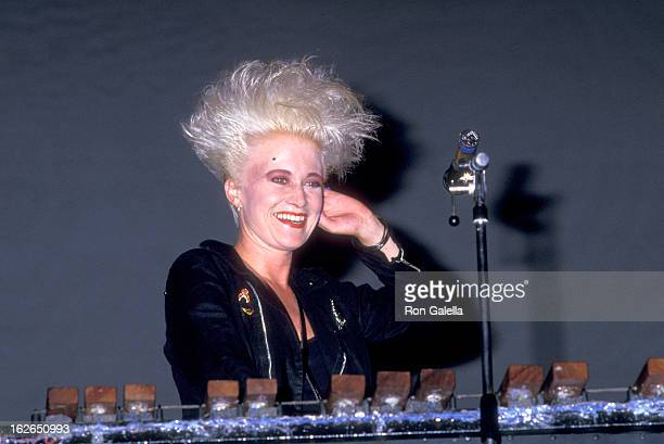 Musician Alannah Currie of pop group Thompson Twins performs in concert on July 23 1987 at Pier 84 in New York City