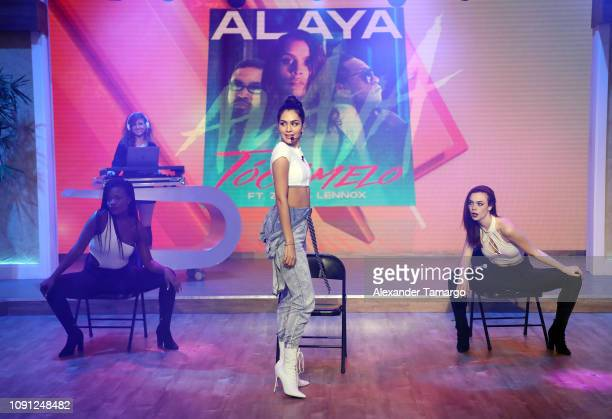 Musician Alaya is seen on the set of Despierta America at Univision Studios on January 30 2019 in Miami Florida