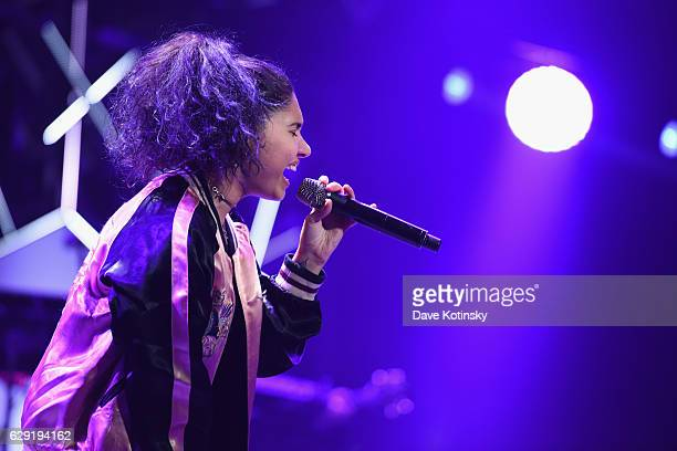 Musician Alessia Cara performs on stage during KISS 108's Jingle Ball 2016 at TD Garden on December 11 2016 in Boston Massachusetts