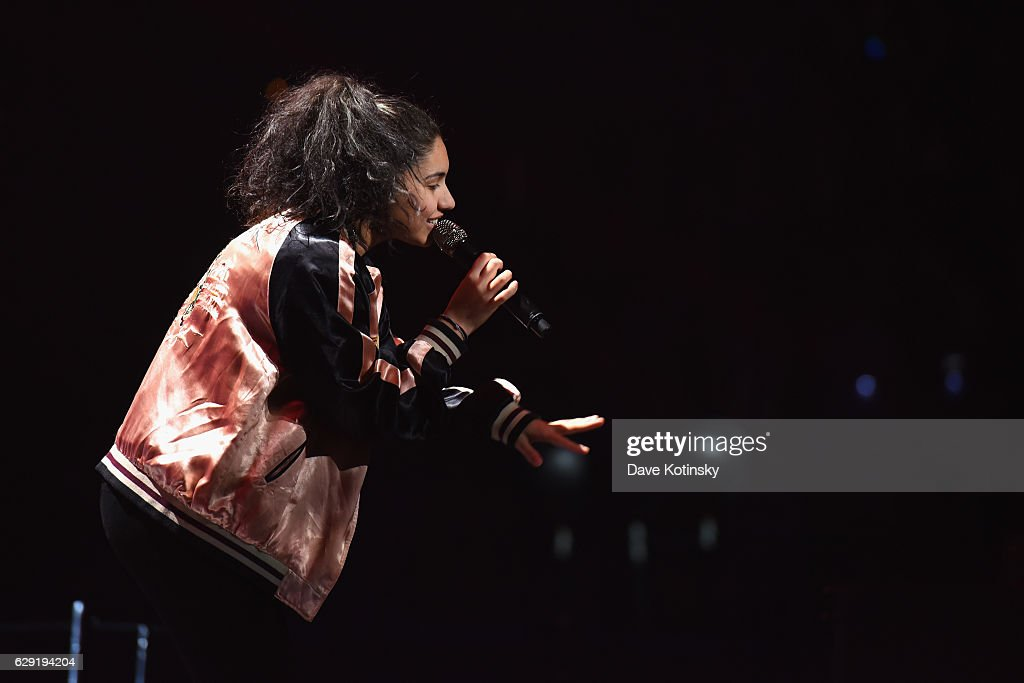 Musician Alessia Cara performs on stage during KISS 108's Jingle Ball 2016 at TD Garden on December 11, 2016 in Boston, Massachusetts.