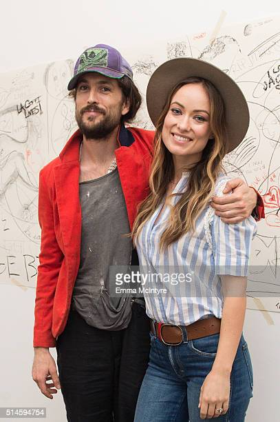 Musician Alex Ebert of Edward Sharpe and the Magnetic Zeros and actress Olivia Wilde attend the launch of a new music video for Edward Sharpe and the...